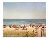 Summertime Beach Photography, Ocean Photograph, Seaside Coastal Decor, Martha's Vineyard, Nostalgic Summer, Beach Umbrellas Sunbathin