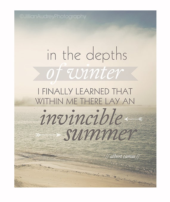Albert Camus Summer Quote: Invincible Summer Quote Print Beach Ocean By