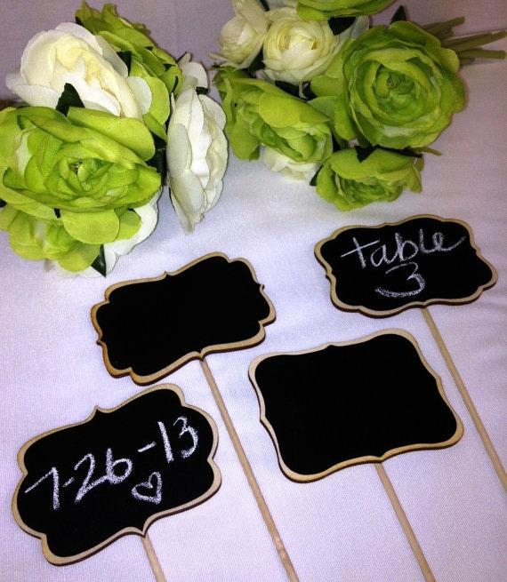 12 Chalkboard Sign Stakes, Chalkboard Table Numbers, Chalkboard Signs with Stick, Wedding Chalkboards, Chalkboard Food Labels