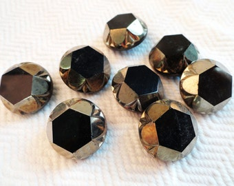 Antique Black Glass Buttons with Silver Accents - 6 Vintage Buttons 19mm 3/4 inch for Jewelry Supplies Beads Sewing Knitting