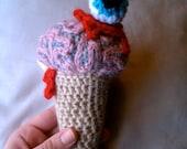 Brain Crochet Plush, Brain Ice Cream With Eyeball On Top, Zombie Ice Cream