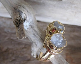 Crystal Quartz Ring - Druzy -  Double round - One of a kind - NEW - Sifnos