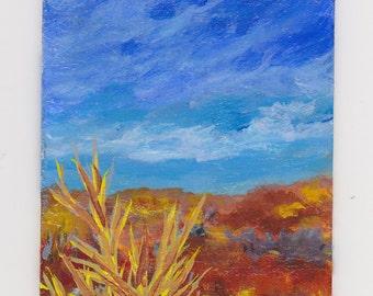 ACEO American Southwest Desert Miniature Painting Rocks Blue Skies Collectible Pat Adams Art