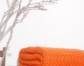 Ready to Ship Beautiful and Luxuriously Handcrafted CROCHET Blanket Throw TANGERINE ORANGE