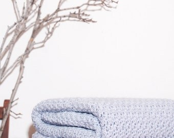 Ready to Ship  Beautiful and Luxuriously Handcrafted CROCHET Blanket Throw SOFT GREY