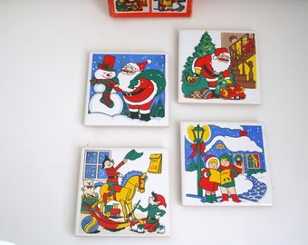Vintage Christmas Tile Trivet set - Four Trivet tiles with Christmas Scenes in original box - Made in Taiwan