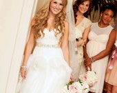 extra long Lovely and Modified rhinestone and pearl bridal sash in blush