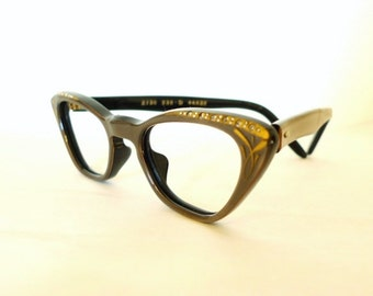 Vintage NOS Rhinestone Cat Eye Frames / France / Gilded Taupe Eyeglasses / Vintage 50s 60s Eyewear / Sunglasses sale