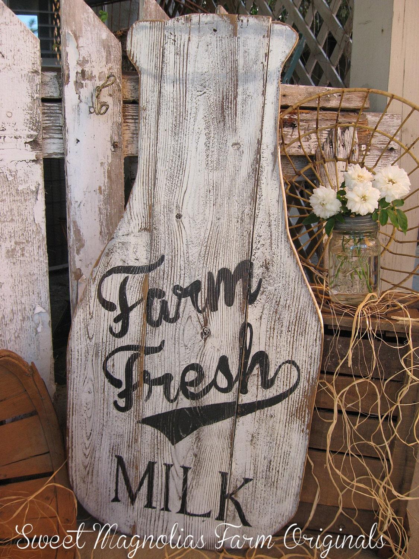 SALE Milk Bottle Wood Sign Farmhouse Style Farm