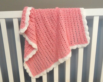 Crocheted Baby Girl Blanket, Pink and White