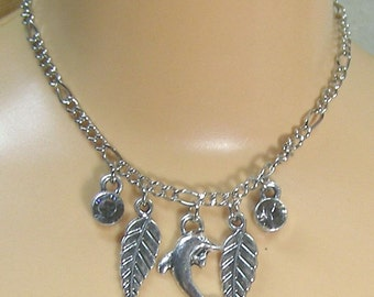 Silver dolphin with leaves and rhinestones for MSB