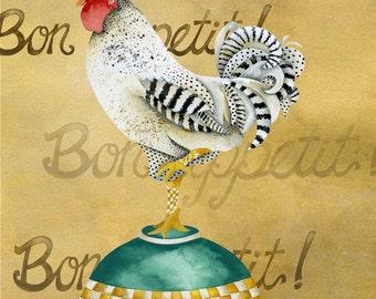 Art Print. Gourmet Rooster Bon Appetit