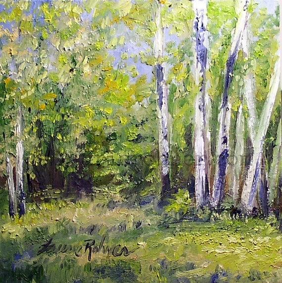 Birch Trees Nature Art Vermont Oil Painting Original Woodland Scenic Landscape