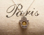 Yellow  Hamsa Necklace.Silver finish. Happiness. Luck. Health. Good Fortune