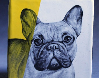 Hand Painted French Bulldog Portrait Wall Tile Bright Yellow