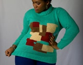 Vintage 80s Minty Teal Abstract Color Blocking Knit Sweater (sz M L)