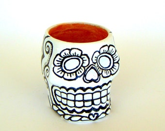 Sugar Skull Planter Ceramic Candle Holder Black and White Gold Day of the Dead Folk Art Dia de los Muertos