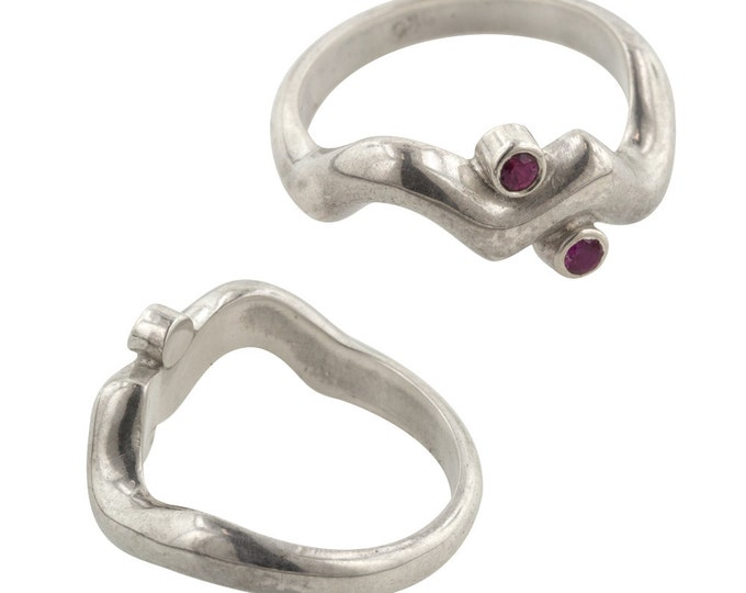 Handcarved Silver and Ruby Ring, One of a Kind, Size 6.75