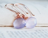 Lavender Chalcedony Earrings Rose Gold - Purple Earrings - Rose Gold Filled Jewelry - Simple Classic - Dangle Drop Earring - Free Shipping