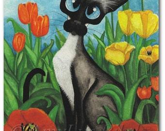 Siamese Cat Tulips - Art Prints by Bihrle ck346