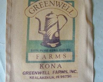 Novelty Coffee Sack Bag, GREENWELL FARMS Coffee, Pure Kona Coffee, Kealakekua, Hawii, vintage sack