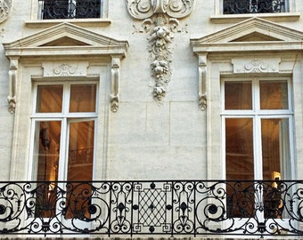 Paris Photography, Baroque Windows Balconies, Paris Architecture, Paris Art Nouveau Window Prints, Paris Apartment, Paris Wall Art Prints,
