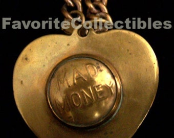OOAK Brass Bracelet Heart Charm Coin Holder 40s Mad Money FavoriteCollectibles Fun Vintage Bling