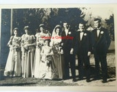"""Vintage Black and White Photo of a Wedding Party 5"""" x 7"""""""