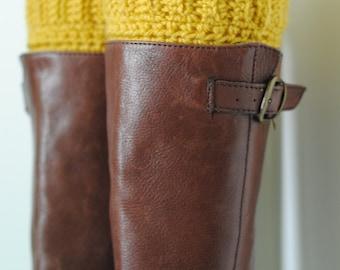 LM Frilly Crochet Boot Cuff Fall Mustard