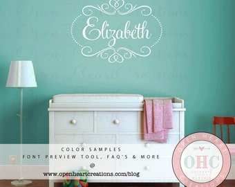 Name Wall Decal with Elegant Shabby Chic Heart Frame Accents and Polka Dots - Monogram Wall Decal - 22h x 32w - FN0550