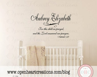 For this Child We Prayed Wall Decal with Name - Baby Nursery Wall Quote with Name and Scripture BA0052