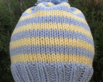 Adorable Hand Knit Baby Boy Hat - Blue And Yellow Stripes - Infant Hat - Cotton Hat - Baby Shower Gift - New Baby Gift - Special Photo