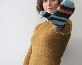 KNITTING PATTERN // linden mittens // fingering and sport self-striping mitts -- PDF