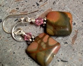 Picasso Jasper Earrings, Pink Swarovksi Crystal Earrings, Sterling Silver Dangle Earrings, Picasso Marble Square Beads, Cute Drop Earrings