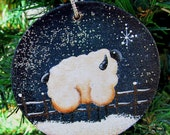 Sheep Christmas  Ornament Hand Painted Wood Disc