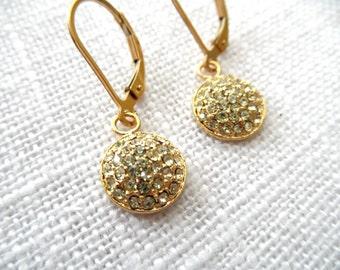 Gold Swarovski earrings - gold earrings - E A R R I N G S 262