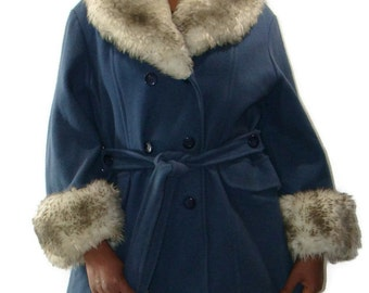Vintage Blue Wool Blend Faux Fur Trimmed Coat Faux Fur Collar Wool Coat Faux Fur Collared Coat Coat with Faux Fur Collar