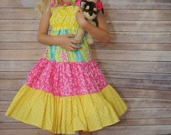 "SALE - ""Summer Twirl"" Ruffle Sundress - Hot Pink, Yellow & Aqua - Birthday - Party - Celebration - Sleeveless - Stretchy - Gift"