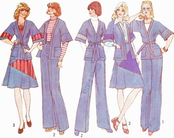 1970s Simplicity 7271 (12) Misses' Jacket Skirt Pants Pattern Wrap Jacket Kimono Sleeves 1975 Womens Vintage Sewing Pattern 70s