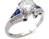 Round cut antique style diamond engagement ring with sapphire accents R209
