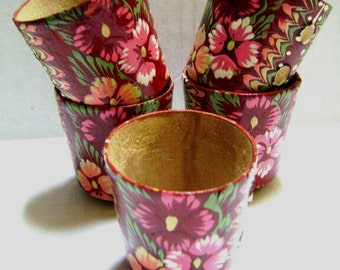 Vintage Hand Painted Cups, Set of 5, Wooden, Folk Ethnic Style Red Pink Burgundy Flowers, Danish, Scandinavian, Souvenir, Vessels, Handmade