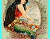 s565 ALTERED ART MERMAID Gypsy Mermaid Quilt Block Mermaid Fabric Applique Quilting Diy Crafts.