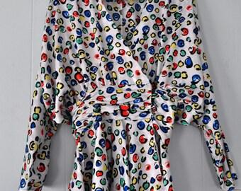 Silk Feel Blouse Top Funky 80s Unworn NOS Circles Geometric Soft Thin 80s Womens Ladies LARGE