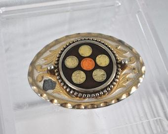 SALE Unique Vintage Belt Buckle Coins Design ornate paisley