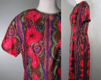 1950's/1960's Bold Painted Flowers Dress, L