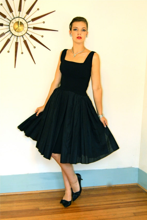 Vintage 1950s Fancy Little Black Party Dress Full Sweep Crinoline Skirt Sleeveless Late 50s Early 60s New Look MAD MEN Cocktail Frock