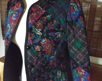 Vintage 80s Floral patchwork print Quilted Jacket M