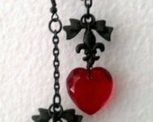 Red Heart Earrings Glass Bead, Charms and a Bow & Black Chain Earrings