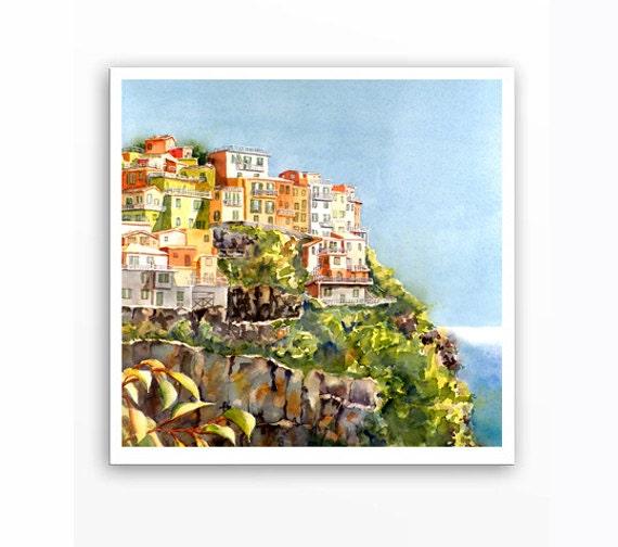 Italian Landscape art - Giclee Print Landscape Watercolor - Romantic painting of  Cinque Terre Italy Seascape cliffs blue green - 12x12 L