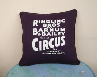 Circus Sideshow aubergine pillow cover - decorative pillow cover, purple cushion cover, eggplant, boho, bohemian decor, circus decor